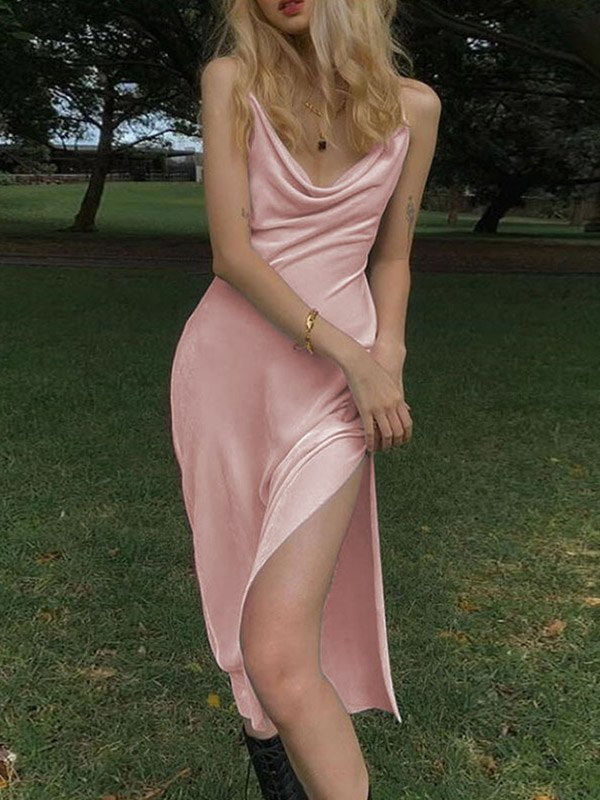 Side Split Cami Dress - Pink L