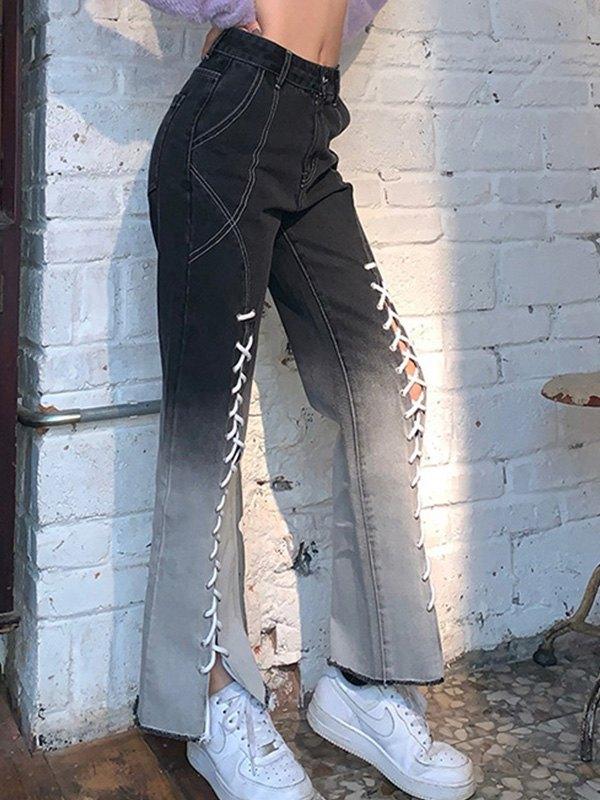 Tie Front Ombre Flare Jeans - Black M