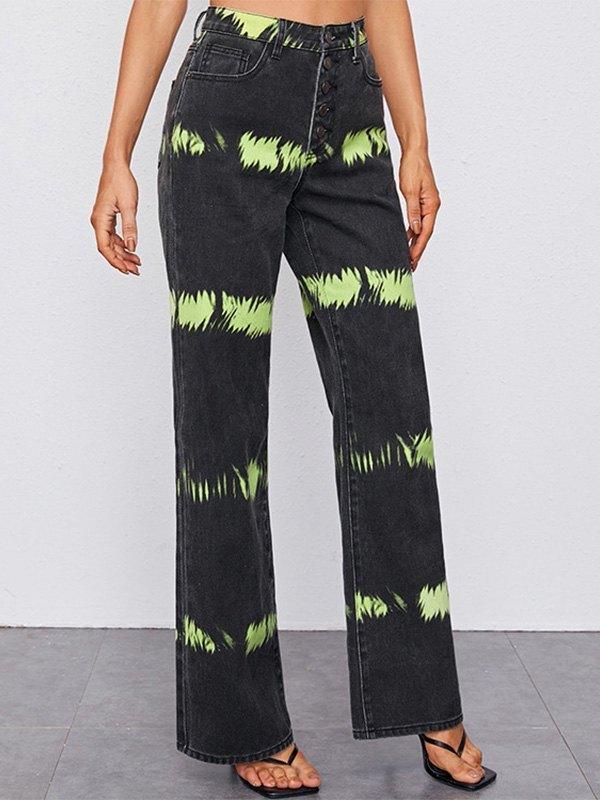 Tie-Dye Buttoned Boyfriend Jeans - Black M