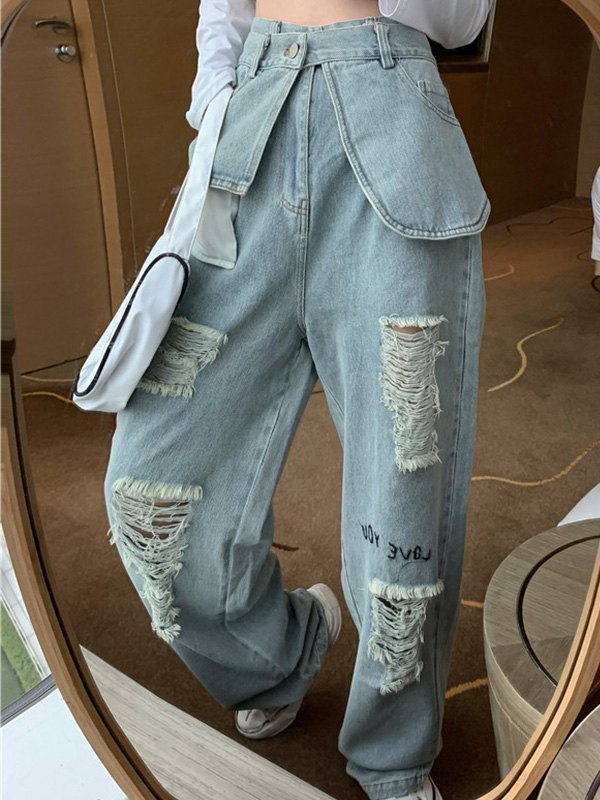Washed Ripped Boyfriend Jeans - Blue M