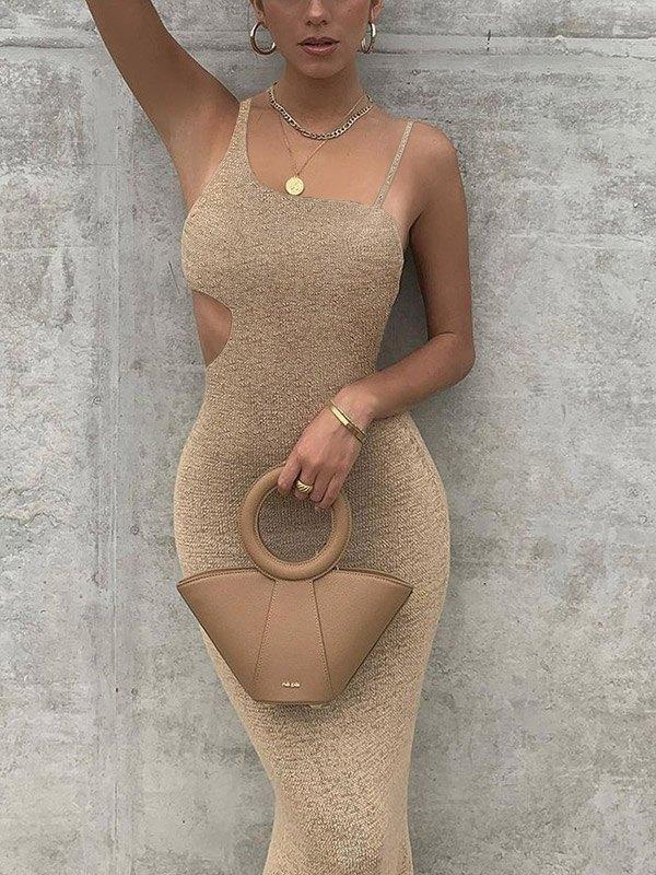 Irregular Cutout Cami Party  Maxi Dress - Apricot S