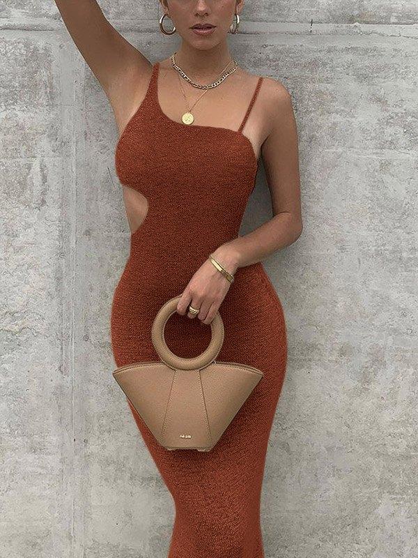Irregular Cutout Cami Party  Maxi Dress - Brown L