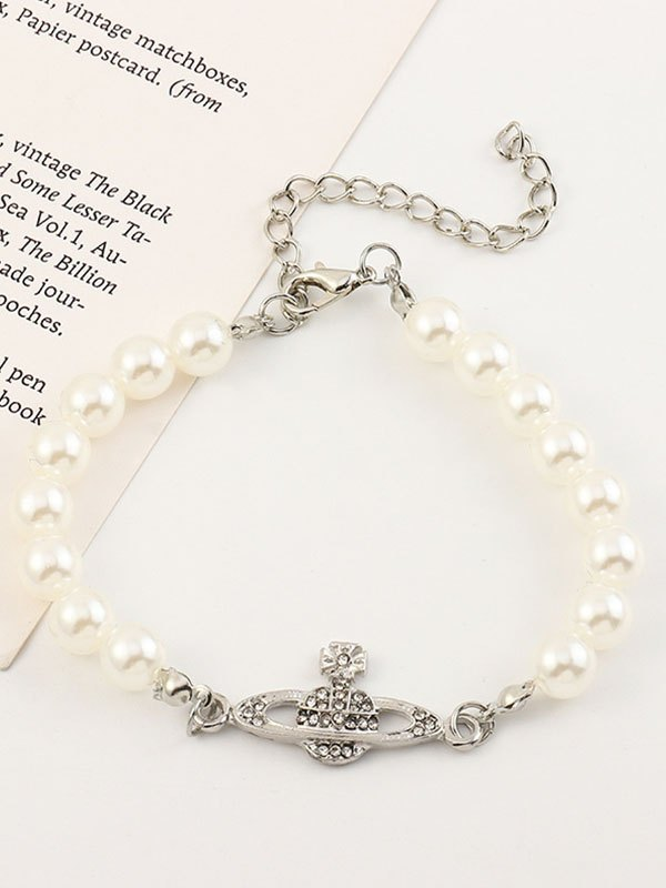 Simple Faux Pearl Bracelet - White ONE SIZE