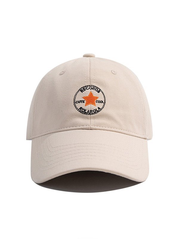 Star Embroidered Baseball Hat - Beige ONE SIZE