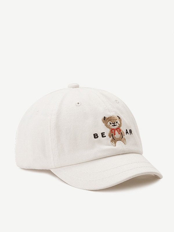 Teddy Bear Embroidered Baseball Hat - White ONE SIZE