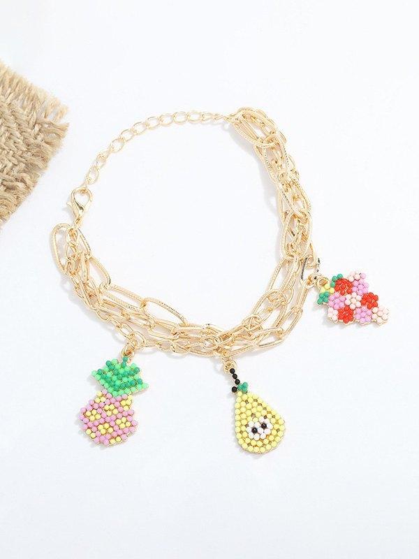 Beaded Fruit Decor Bracelet - Yellow ONE SIZE