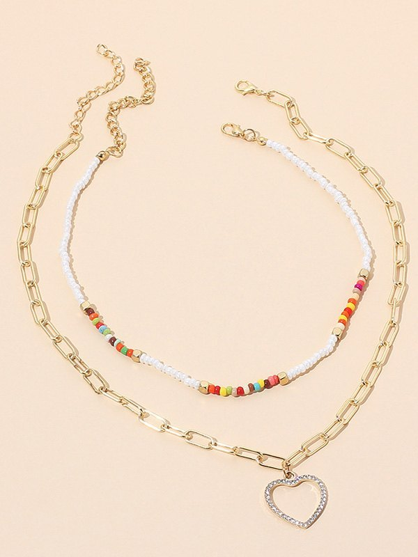 Heart Charm Layered Chain Necklace - Golden ONE SIZE