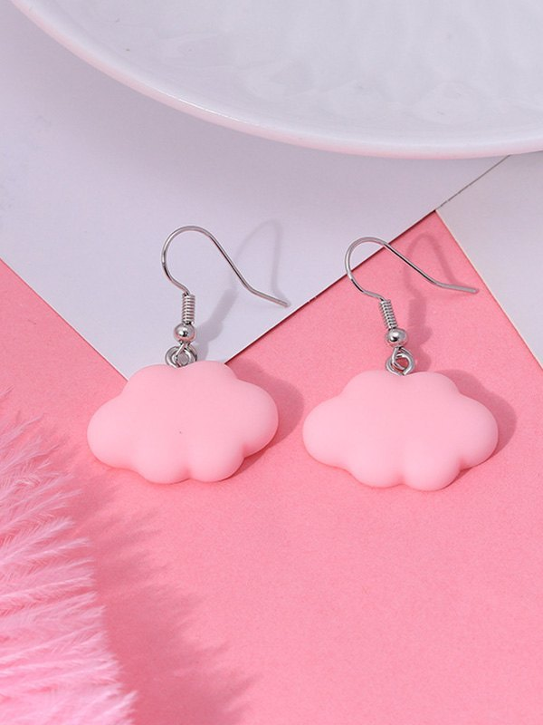 Cloud Stud Drop Earring - Red ONE SIZE