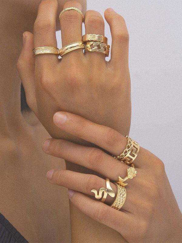 Snake Decor Ring Set - Golden ONE SIZE