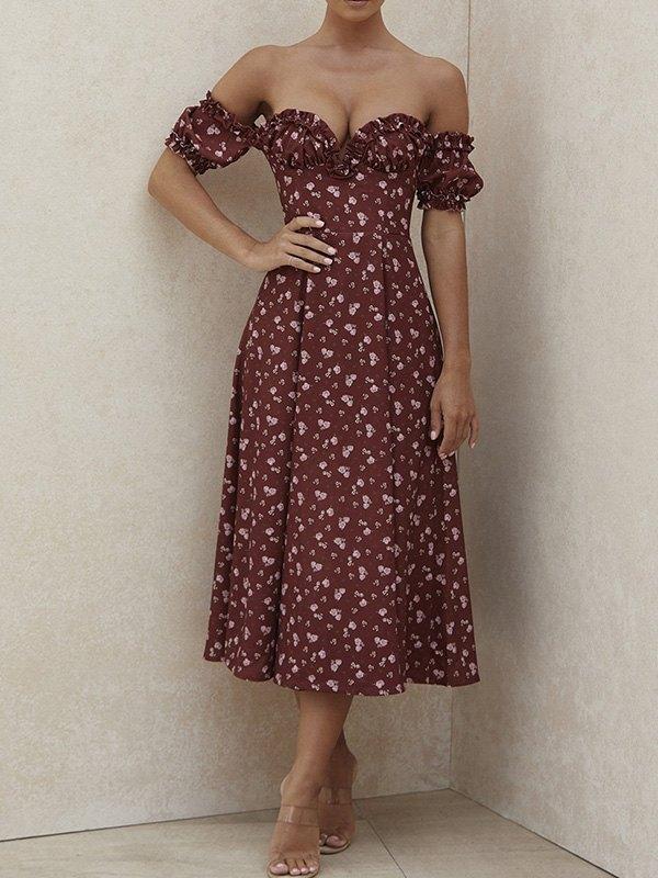 Off Shoulder Split Maxi Dress - Red L