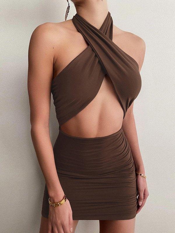 Cross Over Halter Mini Dress - Brown S