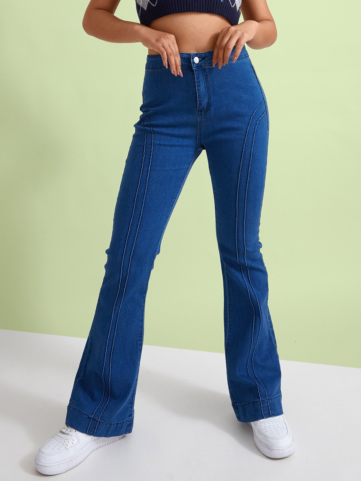 Vintage Mid Rise Slim Jeans - Blue S