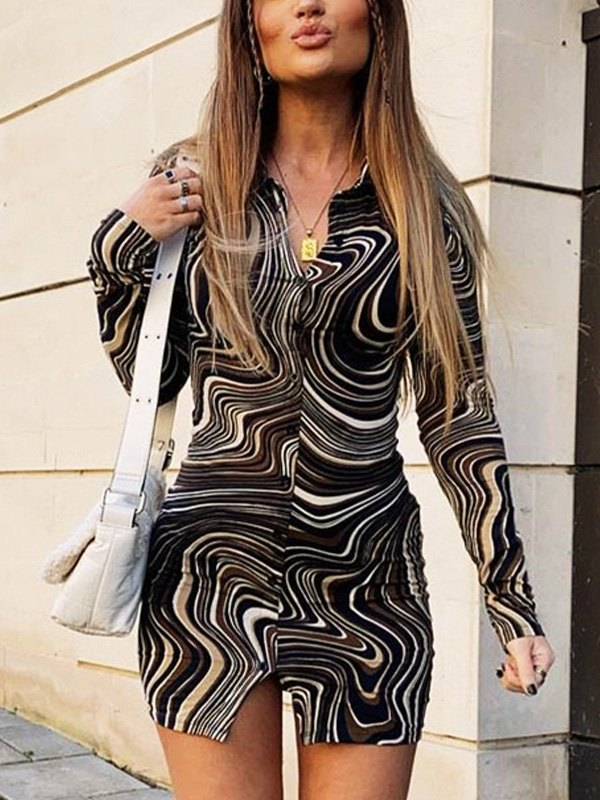 Ripple Print Long Sleeve Mini Dress - Brown M
