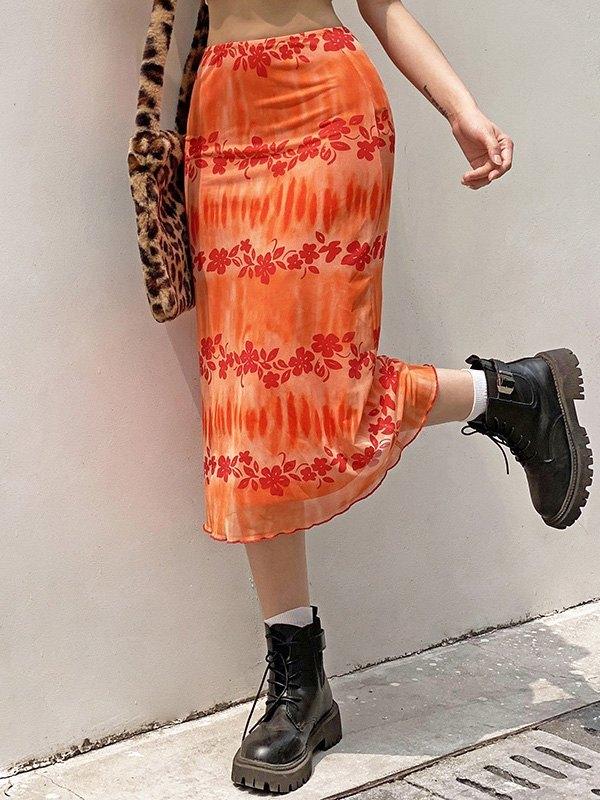 Mesh Paneled Dyed Floral Midi Skirt - Orange S