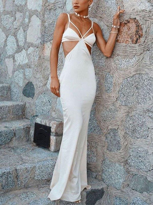 Cutout Strappy Bodycon Maxi Dress - White L