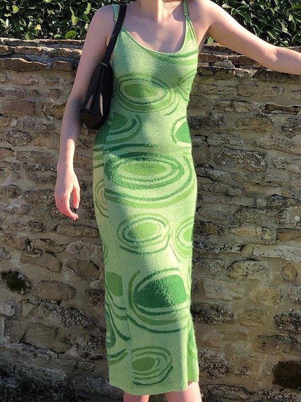 Woolen Turbo Strap Maxi Dress - Green M