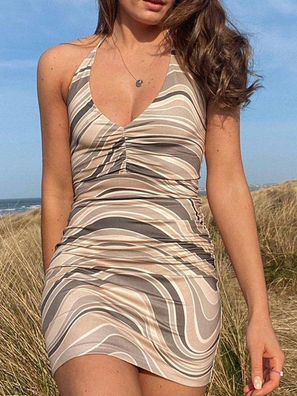 Swirl Halter Bodycon Mini Dress - Camel S