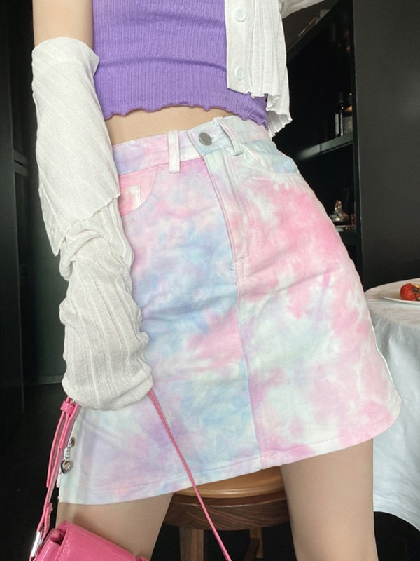 Tie-Dye Split Denim Mini Skirt - Pink M