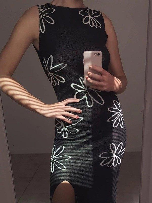 Open Back Floral Knit Maxi Dress - Black L