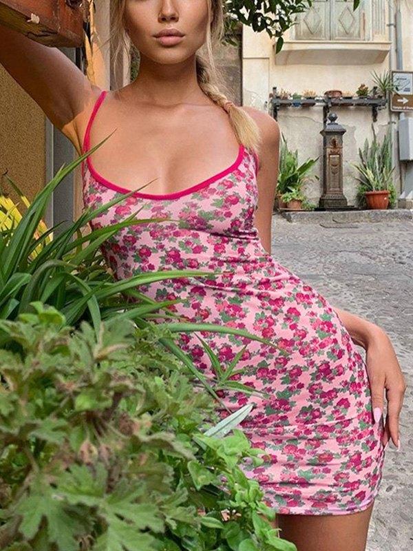 Bodycon Floral Sling Mini Dress - Pink L