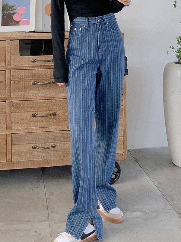 Striped Split Boyfriend Jeans - Navy Blue XL