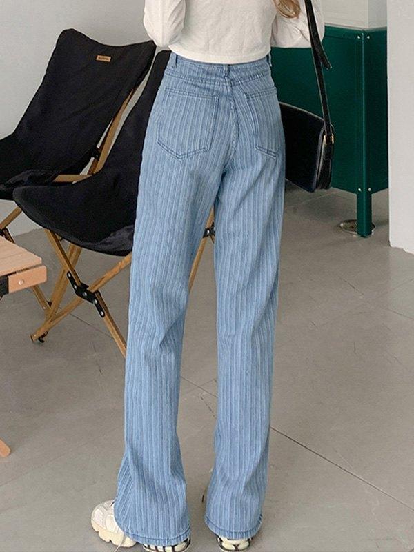 Striped Split Boyfriend Jeans - Blue XL