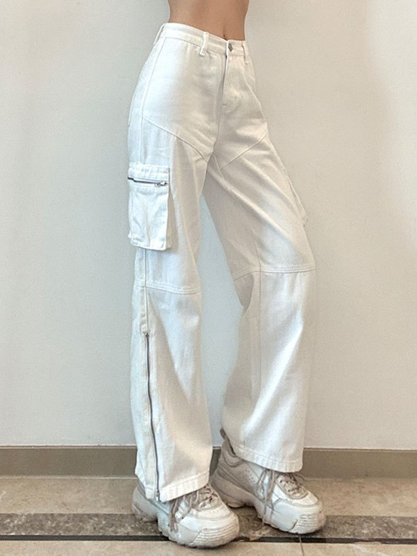 Patchwork Zipper Cargo Jeans - White L