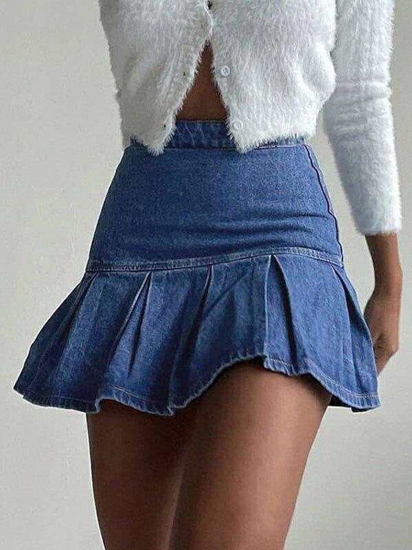 Denim Ruffle Mini Skirt - Blue M
