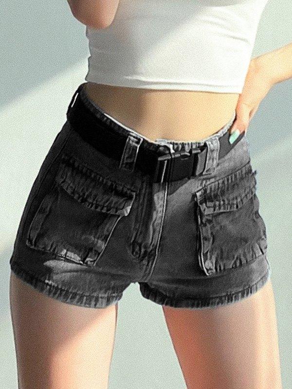 Denim Cargo Hot Shorts - Gray S