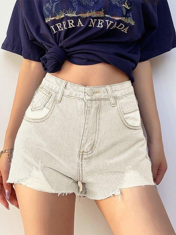 Distressed High Rise Denim Shorts - White XL