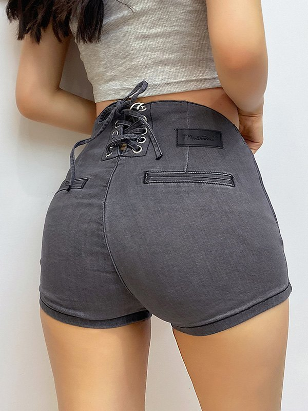 Lace-Up Butt Lift Denim Hot Shorts - Gray M