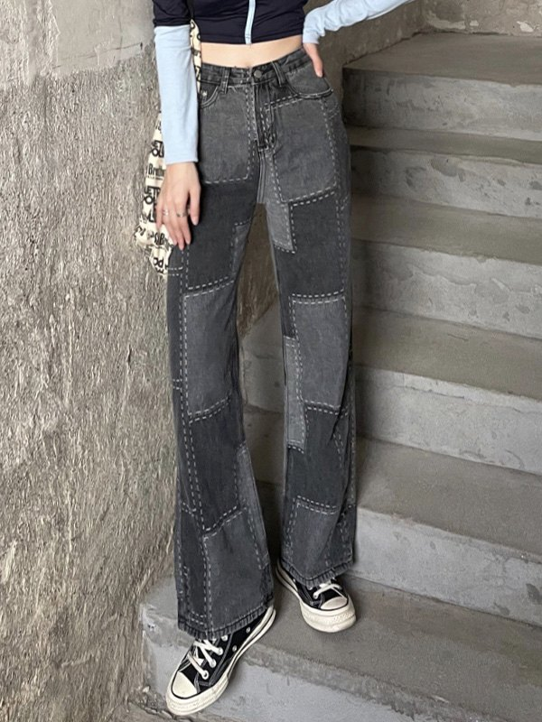Distressed Patchwork Boyfriend Jeans - Black XL