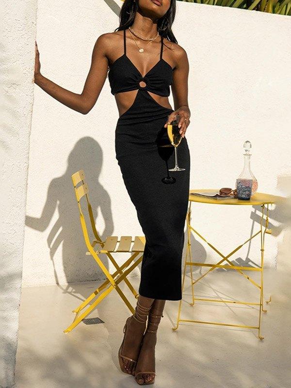 Cutout Knit Party Maxi Dress - Black L