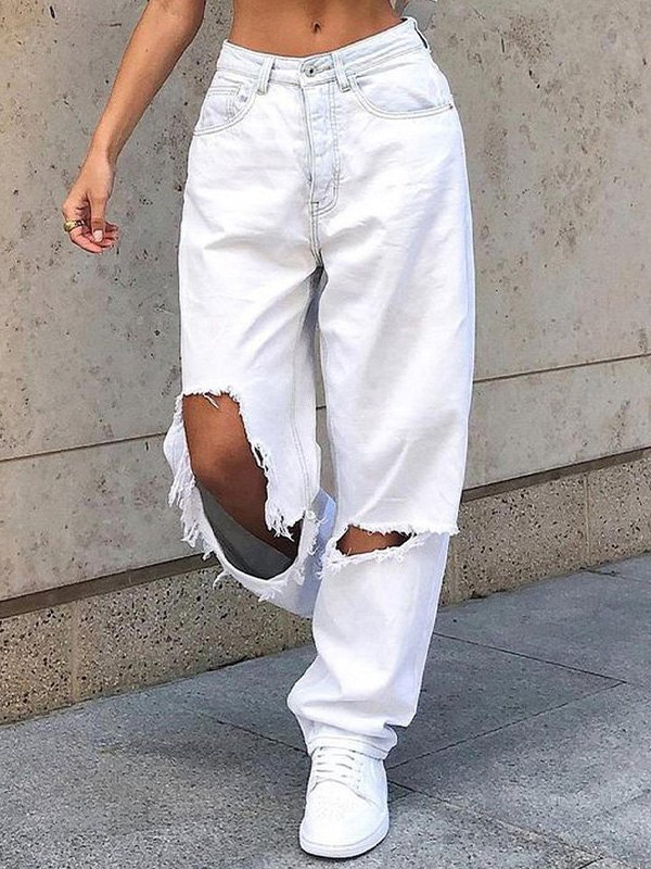 Mid Rise Extra Ripped Jeans - White XL