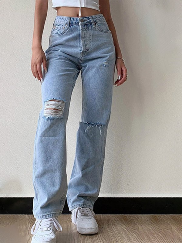 Wash Frayed Ripped Jeans - Blue S