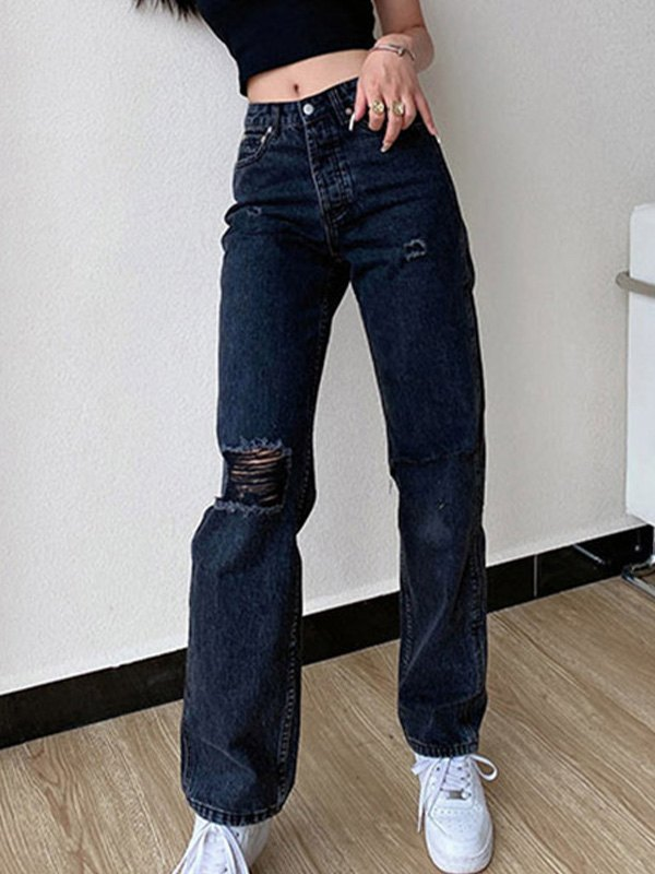 Wash Frayed Ripped Jeans - Black L