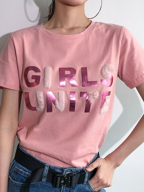 Furry Paneled Letter Graphic Tee - Pink L