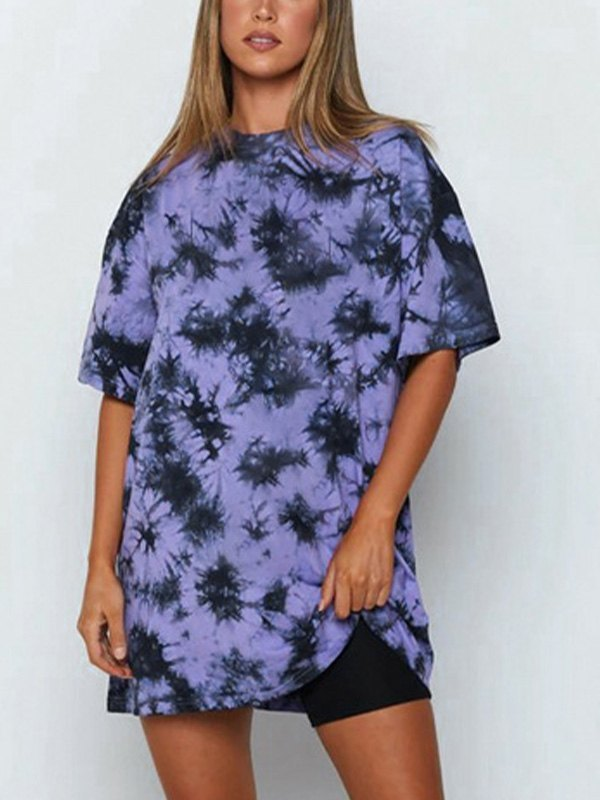 Over-Dyed Longline Tee - Purple L