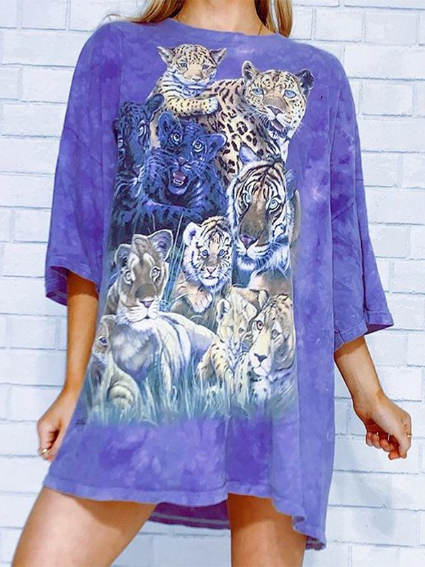 Tie-Dye Tiger Print Tee - Purple L