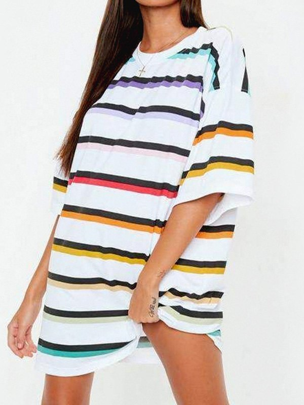 Color Striped Longline Tee - White S
