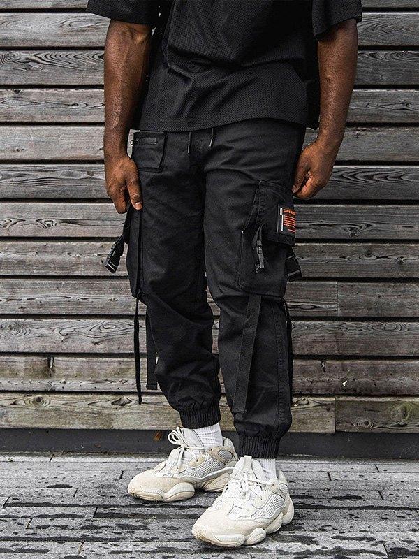 Men's Buckle Pocket Cargo Pants - Black S