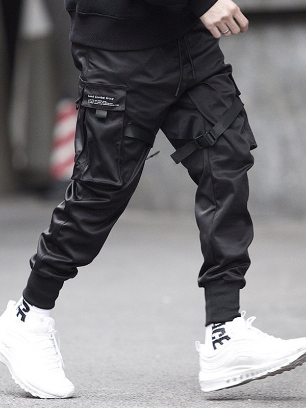 Men's Drawstring Tapered Cargo Pants - Black S