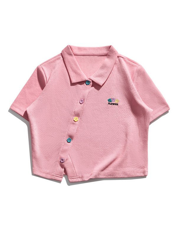 Slant Buttoned Polo Crop Top - Pink M