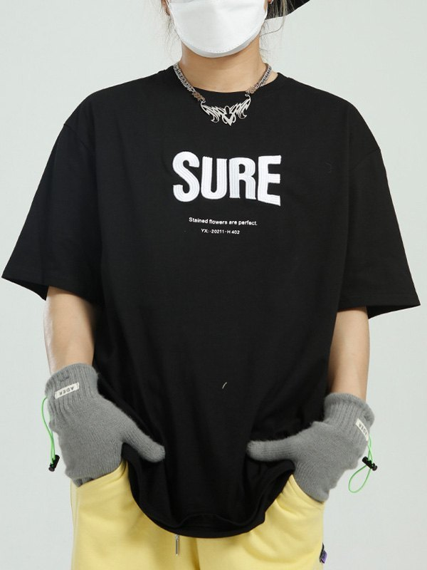 Oversized Letter Embroidered Tee - Black M