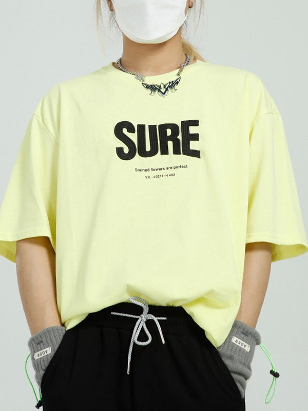 Oversized Letter Embroidered Tee - Yellow L