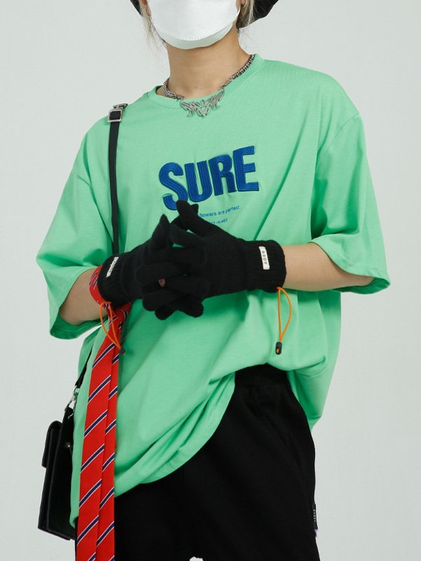 Oversized Letter Embroidered Tee - Green XL