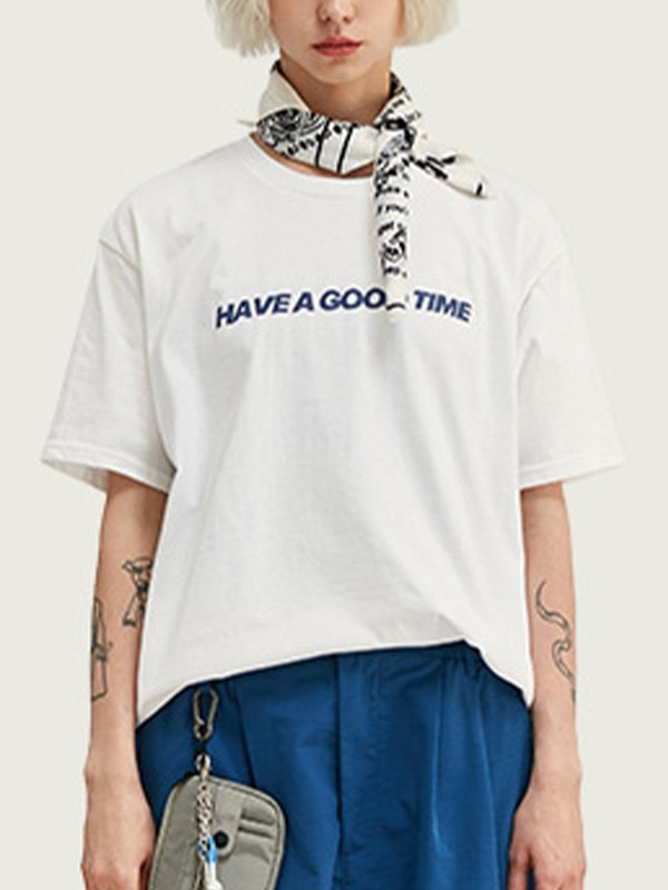 Good Time Graphic Oversized Tee - White L