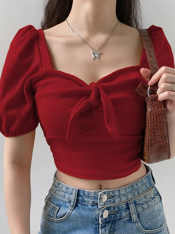 Knotted Rib Cropped Top - Red L