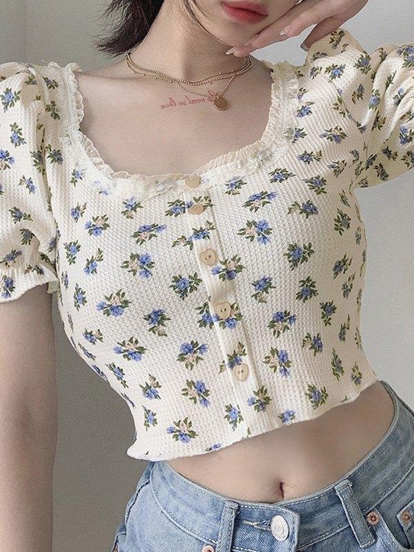 Ditsy Floral Knit Crop Top - Beige S