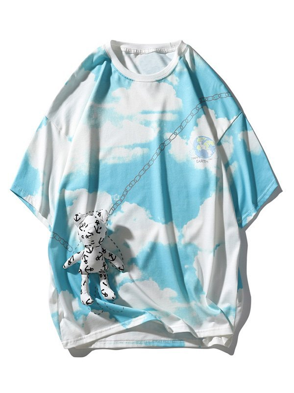Men's Bear Detail Tie-Dye Tee - Blue 2XL